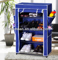 metal steel and non-woven fabric navy blue 4 shelf shoe closet cabinet with roll-up panel