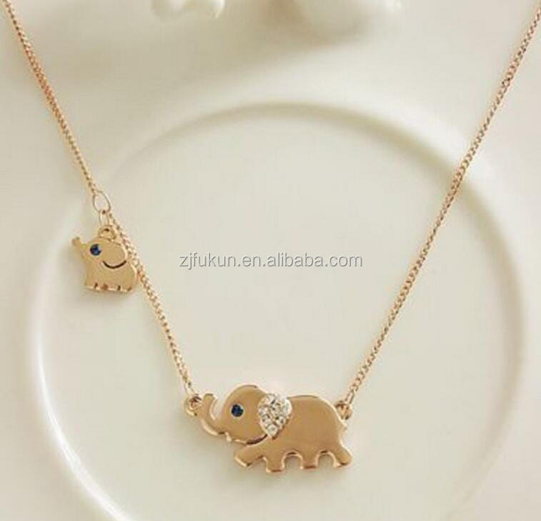 18k white gold animal pendent necklace Rhinestone element elephant necklace for kids