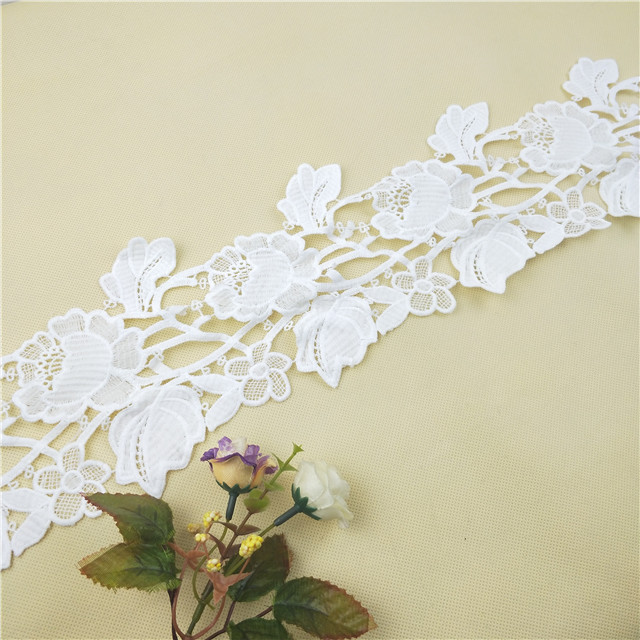 Hight quality new design checmical lace flower design wedding lace wholesale Guangzhou