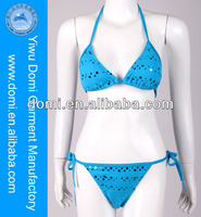 Blue Wholesale Swimwear Metallic Dot Bikini / Open Sexy Girl Full Photo