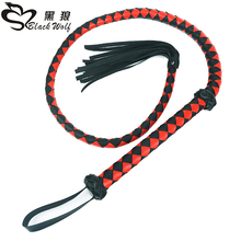 Leather Adult Game Products Black PU Leather Whip & Red Black Long Whip Toy Couple Adult Flirting Toys