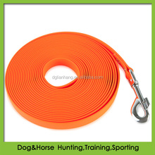 5 meters orange retractable dog leash made from PVC coated webbing