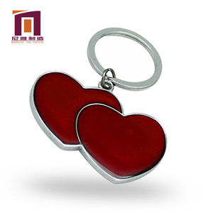 Personalized metal hardware blank round human heart shape keychain