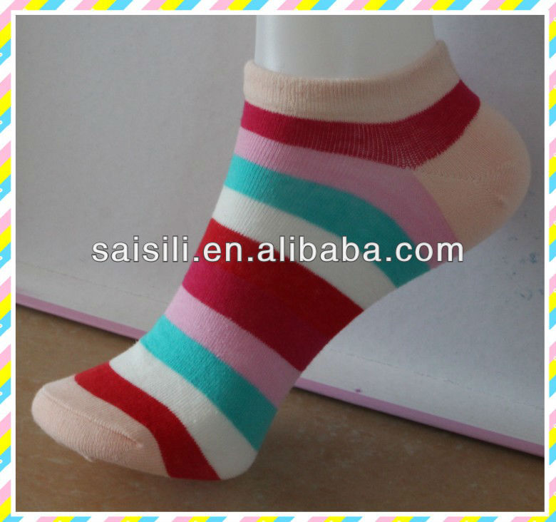 2013 Fashion stripe ladies/ women cotton low cut ankle socks