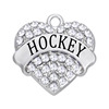 New Sale Fashion White Crystal Sport Hockey Jewelry Charm For Hockey Player