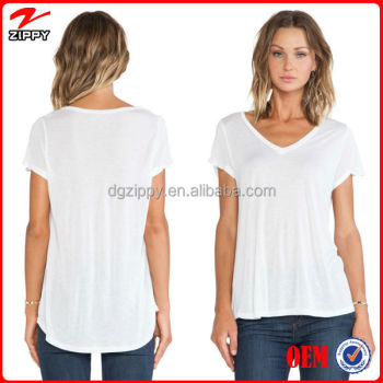 Women T Shirt V Neckline Wholesale Blank T Shirts With