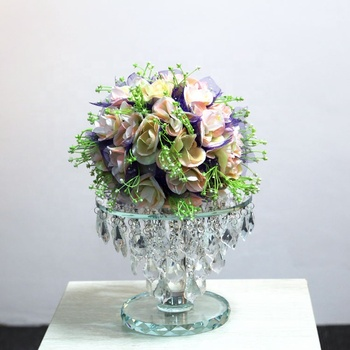 20 cm height wholesale glass flower stand for crystal wedding centerpieces decoration with hanging crystals