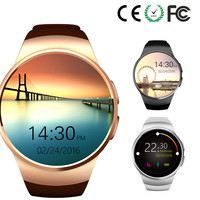 Fashion Metal plating thin body touch screen smart mobile watch phones KW18 at low cost