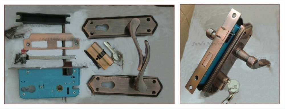 Single Side Door Pull Handle Lock With Plating Finishing