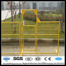 construction site used temporary fence gate for security
