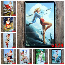 No MOQ Pinup Lady Girl Metal Sign Vintage Tin Sign Metal Plate Family Wall Metal Plaque Home Pub Bar Restaurant Decor