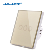 Jajer EU/UK standard smart home switch hotel touch wall switch 3 gang 1 way