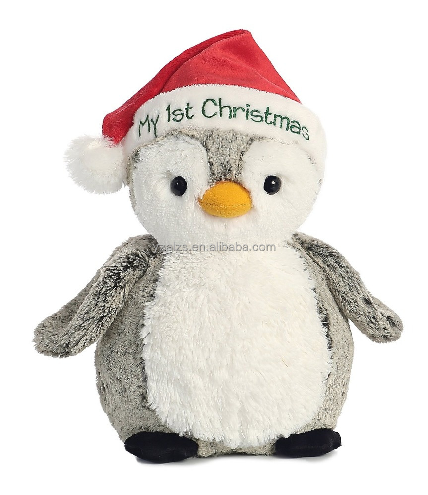 Soft My First Penguin Christmas Stuffed Toy in Red Hat