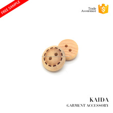 KAIDA Fashion custom 2 hole laser round wooden sewing shirt button