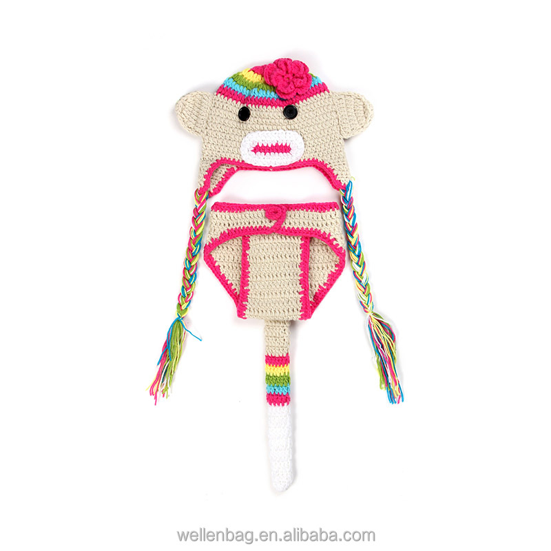 Wholesale crochet hat cartoon animal bear kids knitted hat with briefs photography props baby plush winter hat