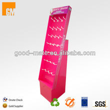 Retail Corrugated Paper Hook Floor Display for Hair Accessories