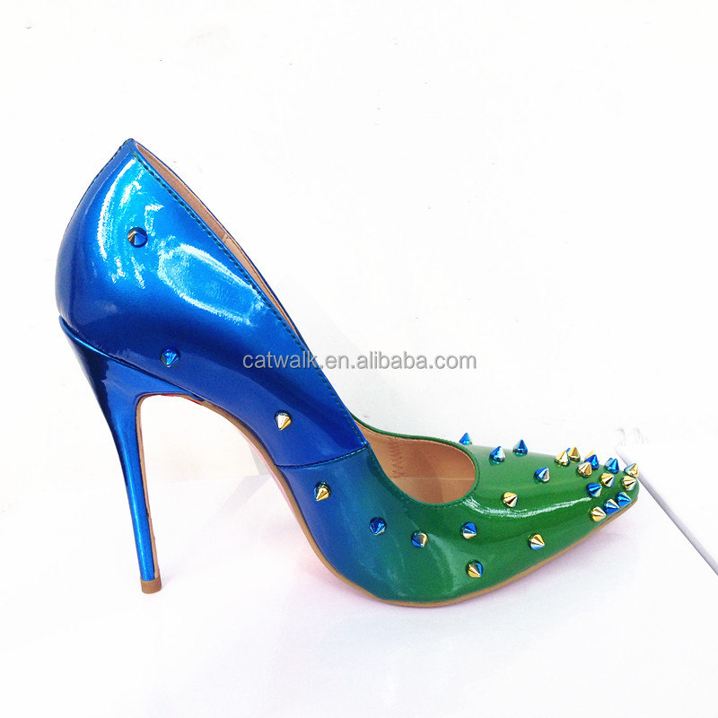 Changing color stud pumps handmade perfect shape ladies shoes 2016
