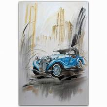 Hand paint blue car designs fabric painting classic designs oil painting