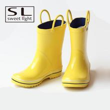 yellow kids rubber cheap rain boots with pull handle