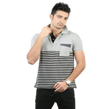 Wholesale gray striper casual polo t shirt