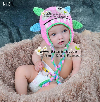 Cutest ! wholesale full hand made crochet baby girls monster beanie hats and caps for winter custom animal beanies for children