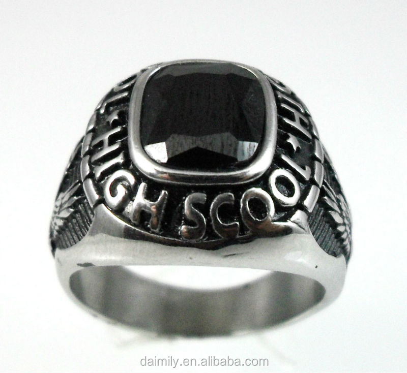 China Wholesale Jewelry Stainless Steel Custom High School Rings Black Stone Faceted Set