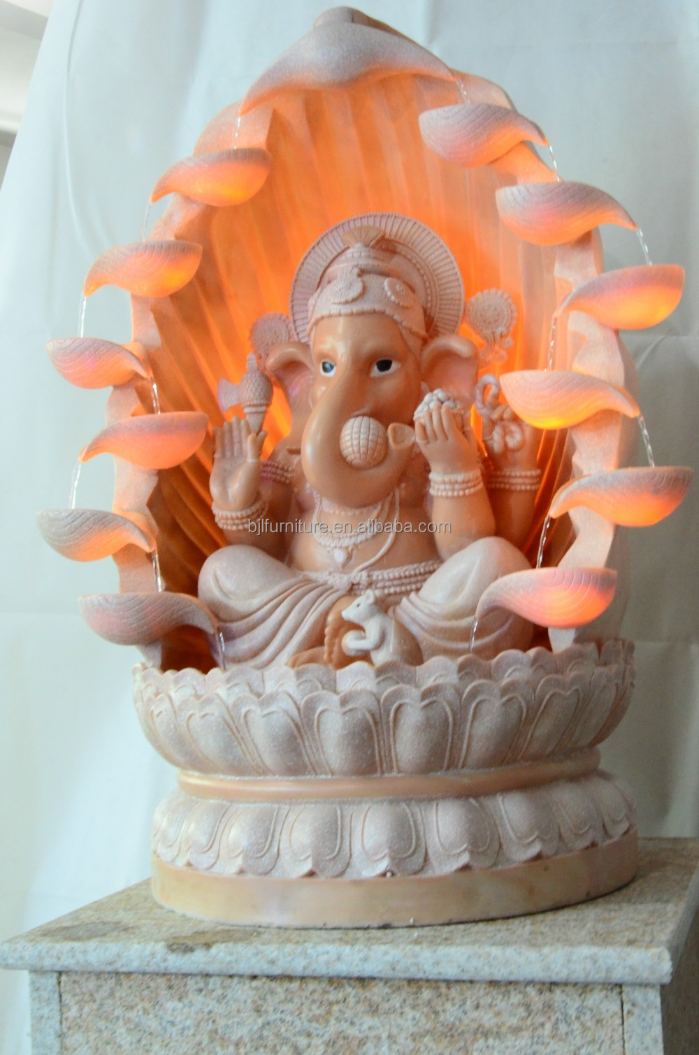 small resin craft ganesh water fountain with led