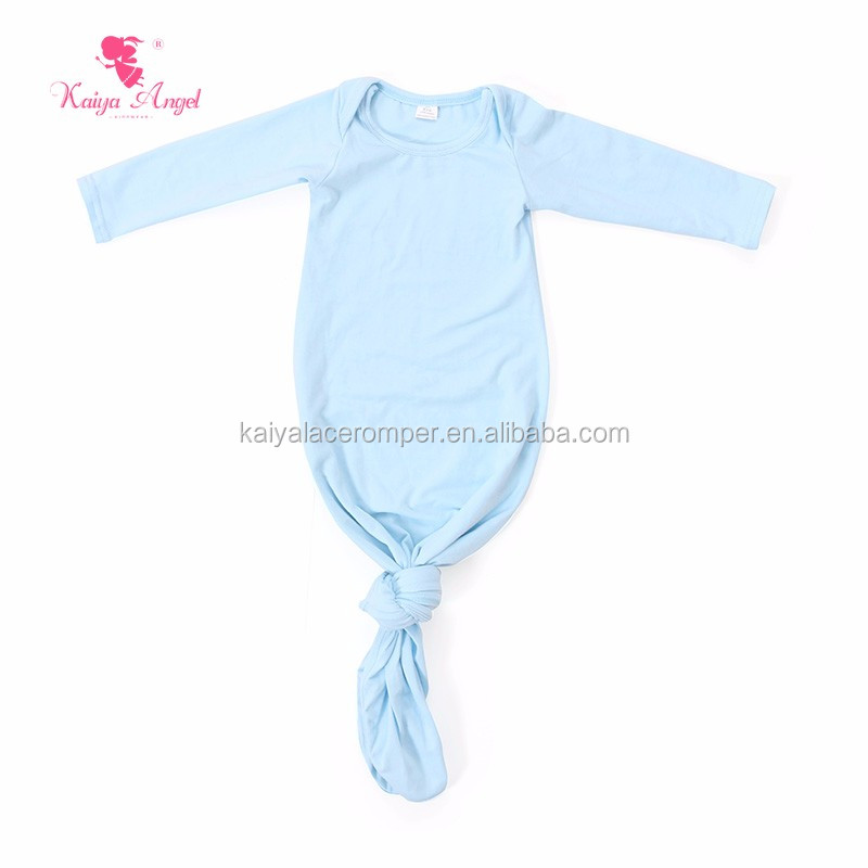 solid color long blank baby clothing gowns sleeping