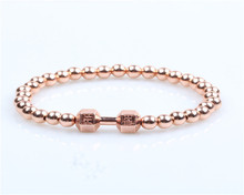 Bulk sell fine jewelry rose gold dumbbell charm beads elastic bracelet