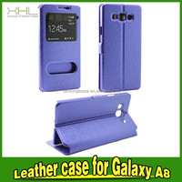 factory phone case for samsung a8 window leather phone case