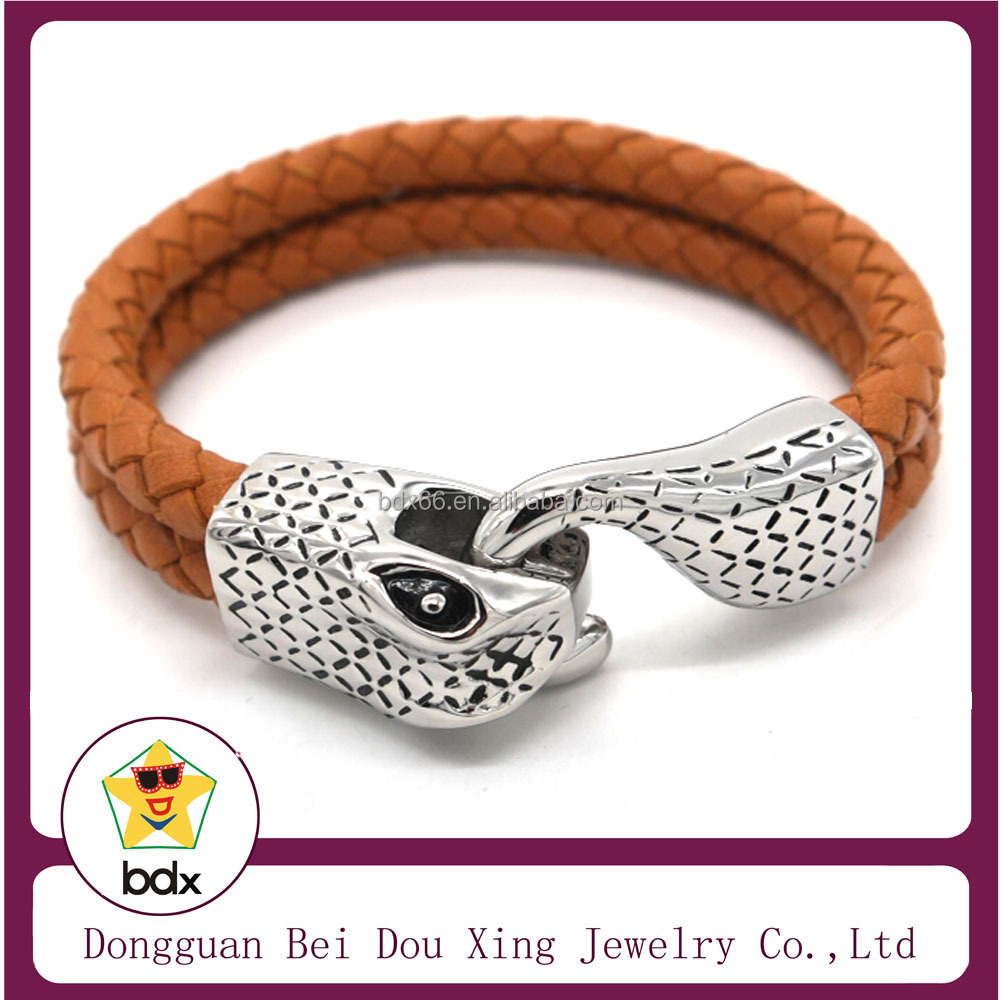 Punk Style Fashion 316L Stainless Steel Cobra Snake Heads Metal Braided Two Layers Leather Orange Weave Bracelet For Mens Gift