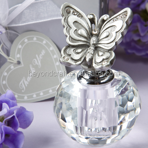 Transparent crystal rose oil bottle with butterfly stopper for wedding present