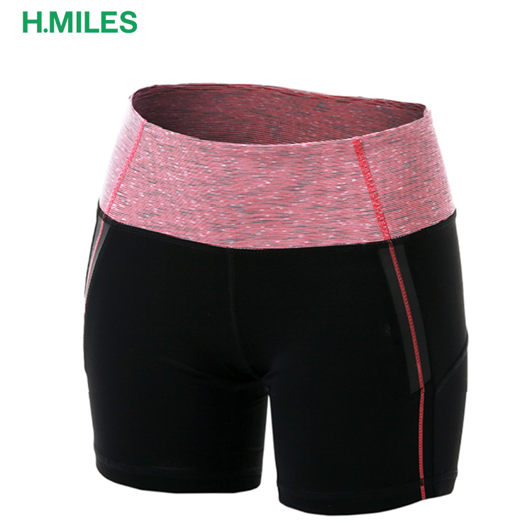 Compression training ladies shorts tight with back zip pocket