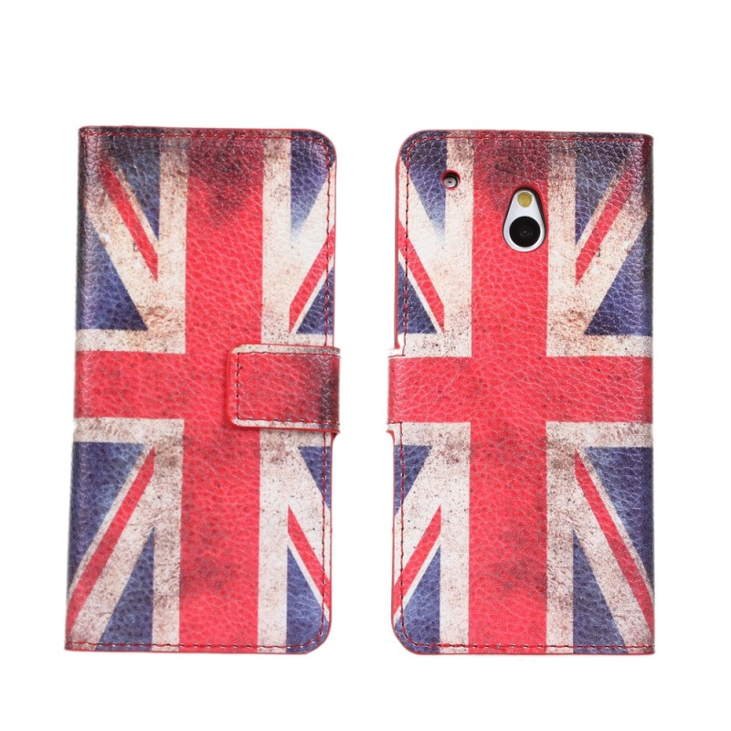 Wholesale price Flag leather cover case with card slots For HTC One mini M4