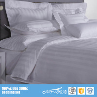 Cheap Hotel Supply 250TC Bedding Sets/Cotton Fabric Hotel Bed Sheets Set/White 3 CM Stripe Used Hotel Bedding Sets