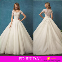 LN443 Modest v neck lace appliqued a line bridal gown wholesale short sleeve wedding dress