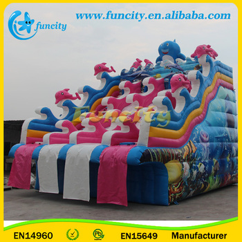 Inflatable Water Slide for Inflatable Water Park On Land With Swimming Pool