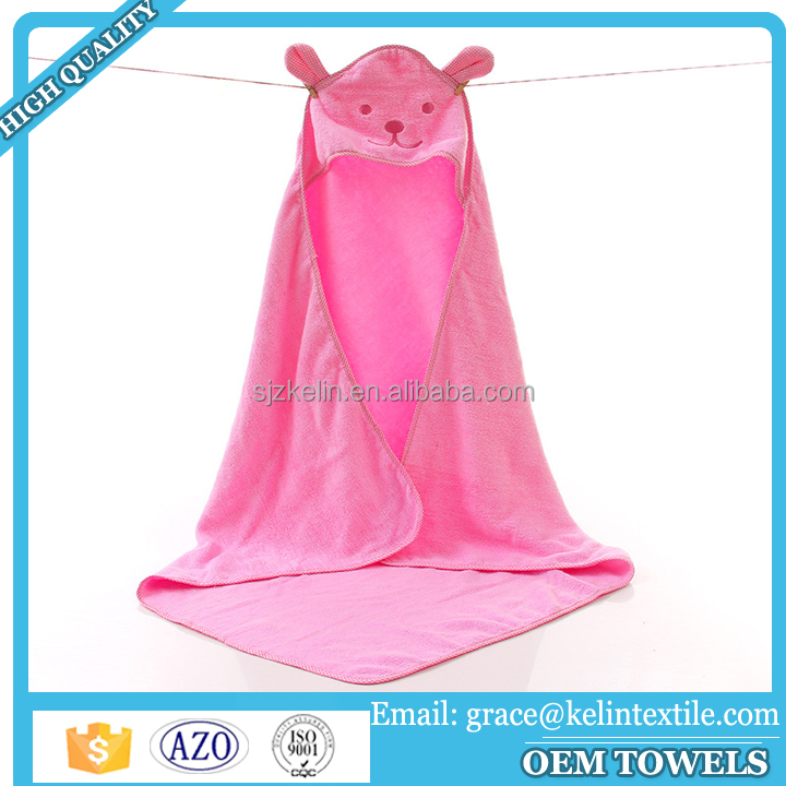 Wholesale plain organic 100% cotton hooded baby towel