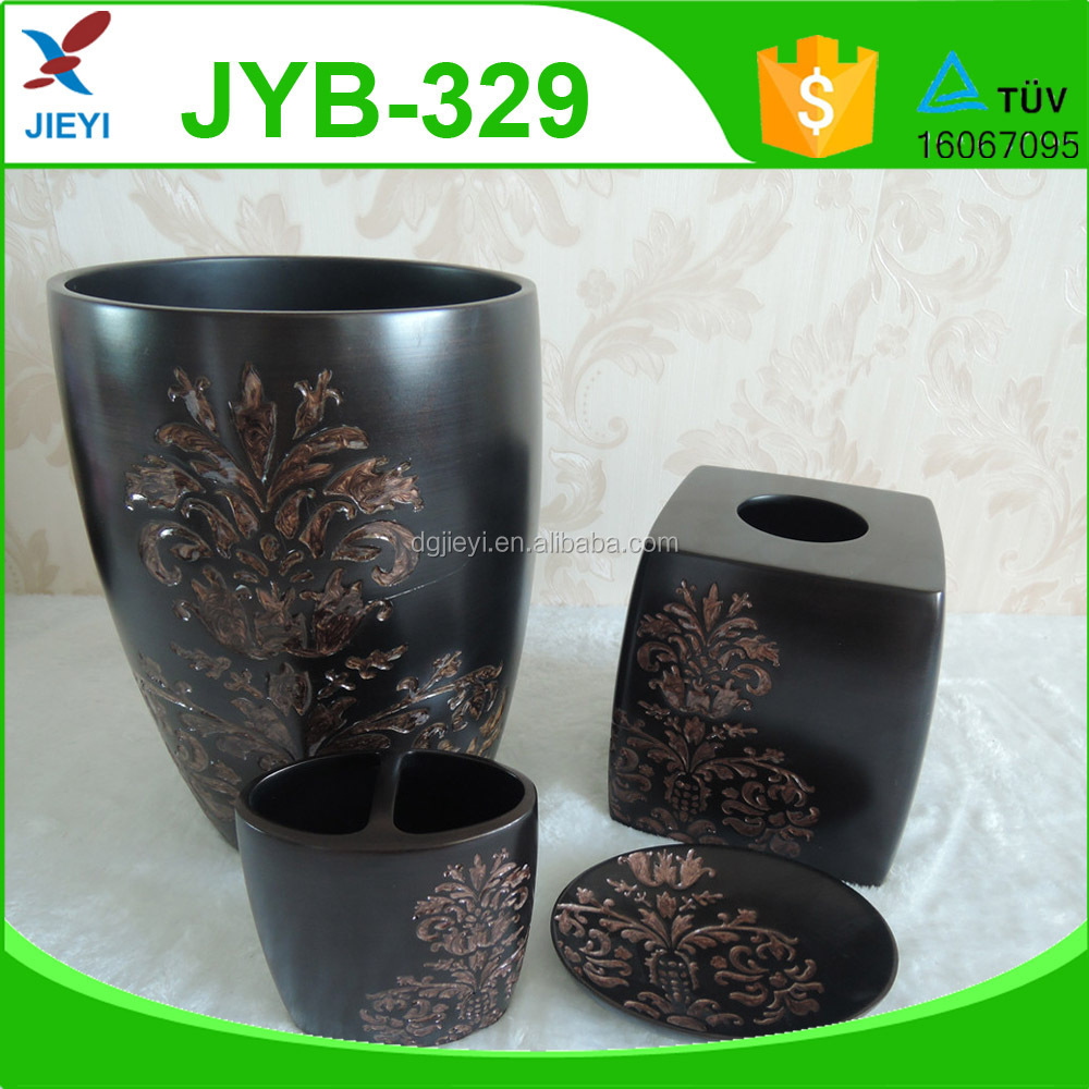 Oriental popular decorative sculptural brass flower black wooden effect bathroom accessories sets