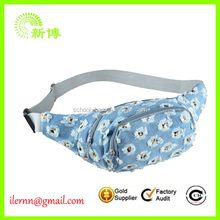 Hot sale cheap denim waist bag with flower