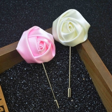 Mens Accessories Satin Fabric Custom Clutch Pin Rose Lapel Pin/Tie Brooch