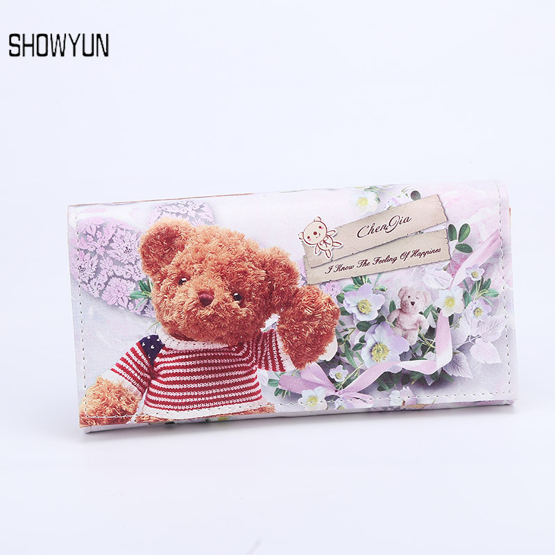 Billfold Women Purse Genuine Leather Purse Popular Young Ladies Wallet Printed Cute Bear Girls Purse