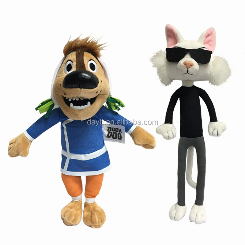 "Factory Supplier Rock Dog&Cat 28cm/11"" Stuffed animal customize Cartoon plush toy marker"