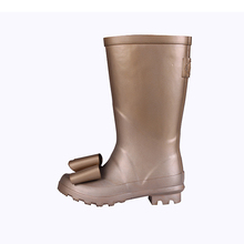 new style safety rubber shoes skid resistance female adults girls fancy Gold bows rubber boots women shoes 2018
