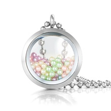 Most popular stainless steel memory floating glass thickened locket pearl cage pendant