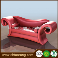 Luxury wood carved red PU leather sofa in China