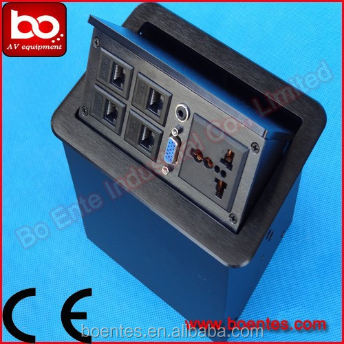 CE Approved Pop Up Desktop Socket with RJ45+RJ11/Media Office Desk Power Plug
