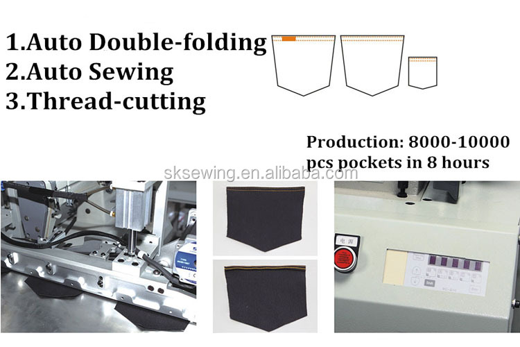 Double needle automatic back pocket folding hemming sewing machine for jean