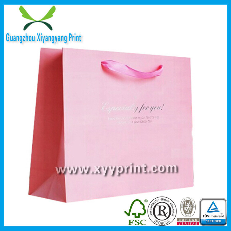 2014 New Luxury Pink Paper Bags With PP Handles For Clothing