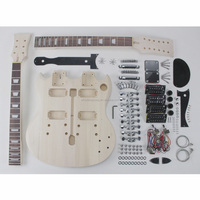 High quality sell well diy double neck unfinished electric guitar kits